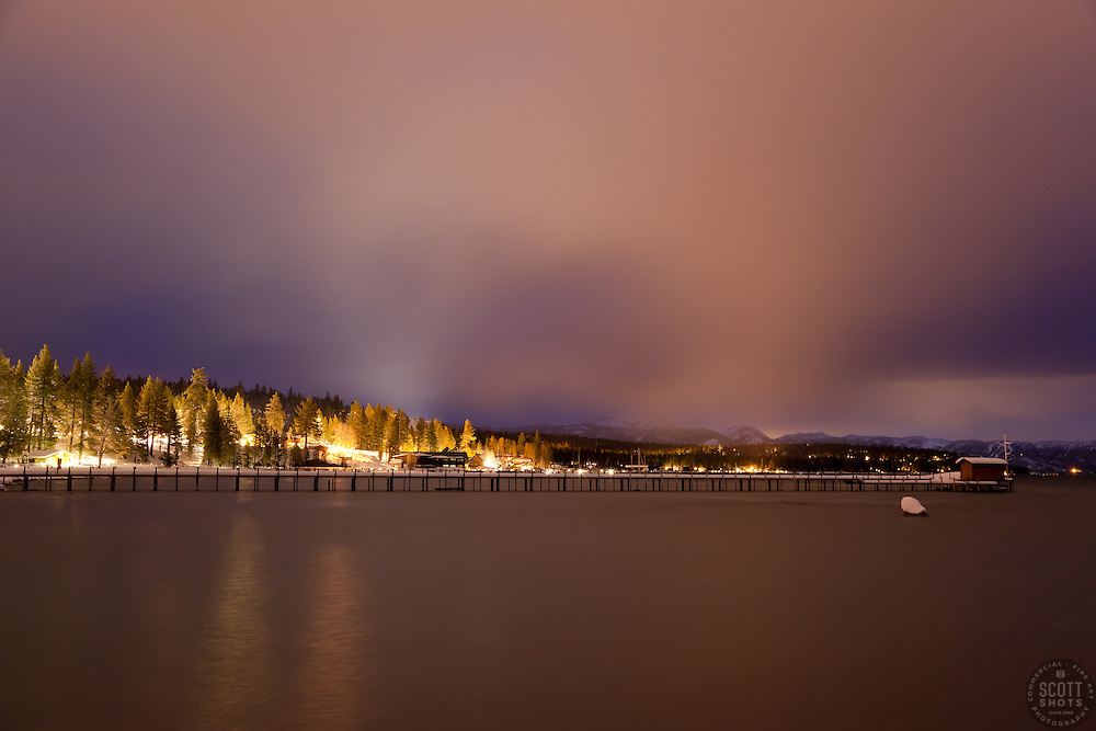 """""""Tahoe City at Night"""" - This long exposure was photographed after sunset in Tahoe City, CA."""