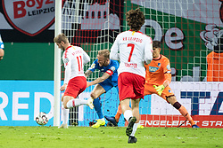 LEIPZIG, Nov. 1, 2018  Leipzig's Timo Werner (1st L) scores a goal during the 2nd round match of German Cup between RB Leipzig and TSG 1899 Hoffenheim, in Leipzig, Germany, on Oct. 31, 2018. Leipzig won 2-0. (Credit Image: © Kevin Voigt/Xinhua via ZUMA Wire)