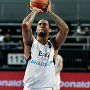 Efes Pilsen's Lawrence ROBERTS during their Turkish Basketball Legague Play-Off qualifying second match Efes Pilsen between Pinar Karsiyaka at the Sinan Erdem Arena in Istanbul Turkey on Friday 13 May 2011. Photo by TURKPIX