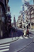 Cineac restaurant club,  Reguliersbreestraat, Amsterdam, Netherlands, looking to Minttoren Munt Tower 1960s