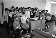 18/04/1963<br /> 04/18/1963<br /> 18 April 1963<br /> Interiors of the Tax Office 9/10 Upper O'Connell Street, Dublin. Special for I.C.T. Ltd. Group shot of staff in the Tax Office.