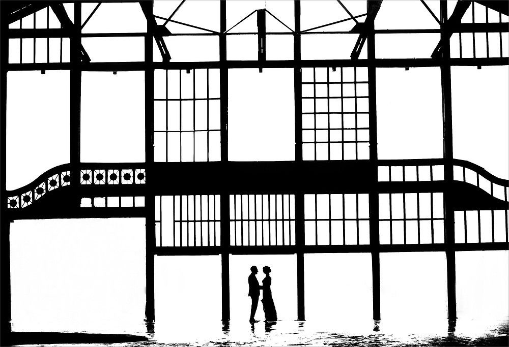 A bride and groom at the Casino that sits in between Asbury Park and Ocean Grove, New Jersey.