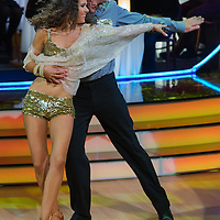 Pal Gyorfi and Kitty Prager dance in the live broadcast celebrity dancing talent show Saturday Night Fever by Hungarian television company RTL II in Budapest, Hungary on March 16, 2013. ATTILA VOLGYI