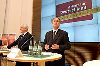 16 JUN 2003, BERLIN/GERMANY:<br /> Peter Hartz (L), Mitglied Vorstand VW, und Wolfgang Clement (R), SPD, Bundeswirtschaftsminister, Auftaktveranstaltung TeamArbeit fuer Deutschland, Bundesministerium fuer Wirtschaft und Arbeit<br /> IMAGE: 20030616-02-006<br /> KEYWORDS: Team, Arbeit