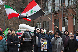 © Licensed to London News Pictures. 05/01/2020. London, UK. A demonstration outside the US Embassy in London, after the US killed the head of Tehran's elite Quds Force and Iran's top general, Qassem Soleimani, in a drone strike. Photo credit: Joshua Bratt/LNP