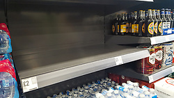 © Licensed to London News Pictures. 06/03/2020. London, UK. A Food Warehouse by Iceland store in London runs out of bottle water amid an increased number of cases of Coronavirus (COVID-19) in the UK. <br /> On Thursday 5 March a woman in her 70s with underlying health condition become the first person in the UK to die from coronavirus. 116 cases in the UK have tested positive of the virus. Photo credit: Dinendra Haria/LNP