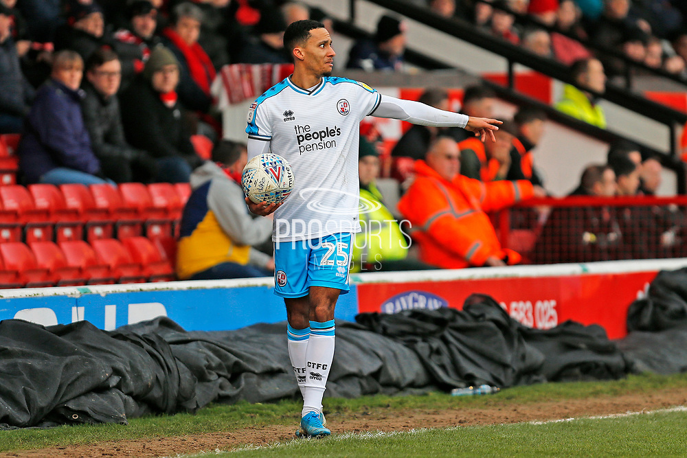 Josh Dacres-Cogley prepares to take a throw-in during the EFL Sky Bet League 2 match between Walsall and Crawley Town at the Banks's Stadium, Walsall, England on 18 January 2020.