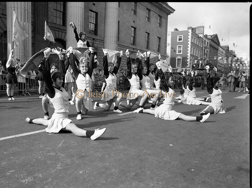 St Patrick's Day Parade.1982.17/03/1982.03.17.1982.Bishop Montgomery High School, California, Knightettes display their skills to the viewing stand