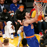 21 January 2018: New York Knicks center Enes Kanter (00) goes for the layup during the LA Lakers 127-107 victory over the New York Knicks, at the Staples Center, Los Angeles, California, USA.