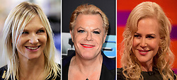 Undated file photos of (left to right) Jo Whiley, Eddie Izzard and Nicole Kidman.
