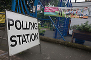 On polling day of the UK's EU (European Union) Referendum Day, is the exterior of St Jude's school which today is a local Polling Station in Brixton, on 23rd June 2016, in south London, United Kingdom.