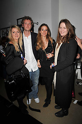Left to right, ARABELLA LLEWELLYN, OLIVER BOLTON, CHARLOTTE COWEN and OLIVIA LLEWELLYN at a party to launch pop-up store Oxygen Boutique, 33 Duke of York Square, London SW3 on 8th February 2011.