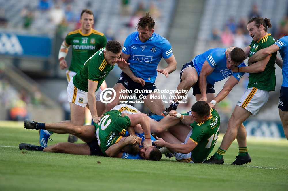 18-07-21. Meath v Dublin - Leinster Senior Football Championship Semi-Final at Croke Park.<br /> Tempers flare between Meath and Dublin players. <br /> Photo: John Quirke / www.quirke.ie<br /> ©John Quirke Photography, 16 Proudstown Road, Navan. Co. Meath. (info@quirke.ie / 046-9028461 / 087-2579454).