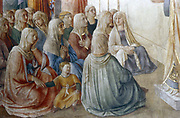 St Stephen Preaching' (detail showing women listening). Fra Angelico (Guido di Pietro/Giovanni da Fiesole c1400-55) Italian painter.  Fresco. Chapel of Nicholas V, Vatican Palace.