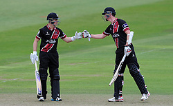 Somerset's Tom Abell and Adam Hose react after reaching their 50 partnership- Photo mandatory by-line: Harry Trump/JMP - Mobile: 07966 386802 - 29/07/15 - SPORT - CRICKET - Somerset v Durham - Royal London One Day Cup - The County Ground, Taunton, England.