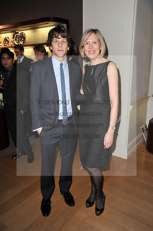 JESSE EISENBERG and JULIET HERD at the BAFTA Nominees party 2011 held at Asprey, 167 New Bond Street, London on 12th February 2011.