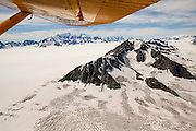 Aerial view of the enormous Bagley Icefield in the Chugach Range from a Wrangell Mountain Air bush plane flight, Wrangell-St. Elias National Park, Alaska.