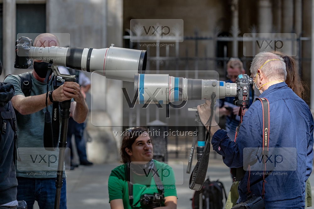 Members of the press waiting for Johnny Depp and his ex-wife actress Amber Heard to leave the Royal Courts of Justice in London, on Monday afternoon, of July 13, 2020. American actor Johnny Depp has finished giving evidence after more than four intense days of his high-profile libel case against The Sun. Depp left the High Court in London, on Monday afternoon around 17:30/h o'clock. (VXP Photo/ Vudi Xhymshiti)