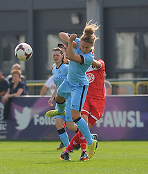 Manchester City Womens' Steph Houghton goes in for a tackle. - Photo mandatory by-line: Nizaam Jones- Mobile: 07583 387221 - 28/09/2014 - SPORT - Women's Football - Bristol - SGS Wise Campus - BAWFC v Man City Ladies - sport