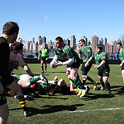 Action during the Old Gold V Rochester rugby match during the Four Leaf 15's Club Rugby Tournament at Randall's Island New York. The tournament included 70 teams in 6 divisions, organized by the New York City Village Lions RFC. Randall's Island, New York, USA. 23rd March. Photo Tim Clayton