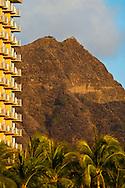 Diamond Head Crater above Waikiki Beach, Honolulu, Oahu, Hawaii