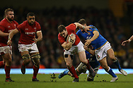 George North of Wales breaks past a tackle from Italy's Marcello Violi and Sebastien Negri ®. Wales v Italy , NatWest 6 nations 2018 championship match at the Principality Stadium in Cardiff , South Wales on Sunday 11th March 2018. pic by Andrew Orchard, Andrew Orchard sports photography
