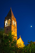 Bell tower and moonrise over St Stephen's Church, Sipanska Luka, Sipan Island, Dalmatian Coast, Croatia