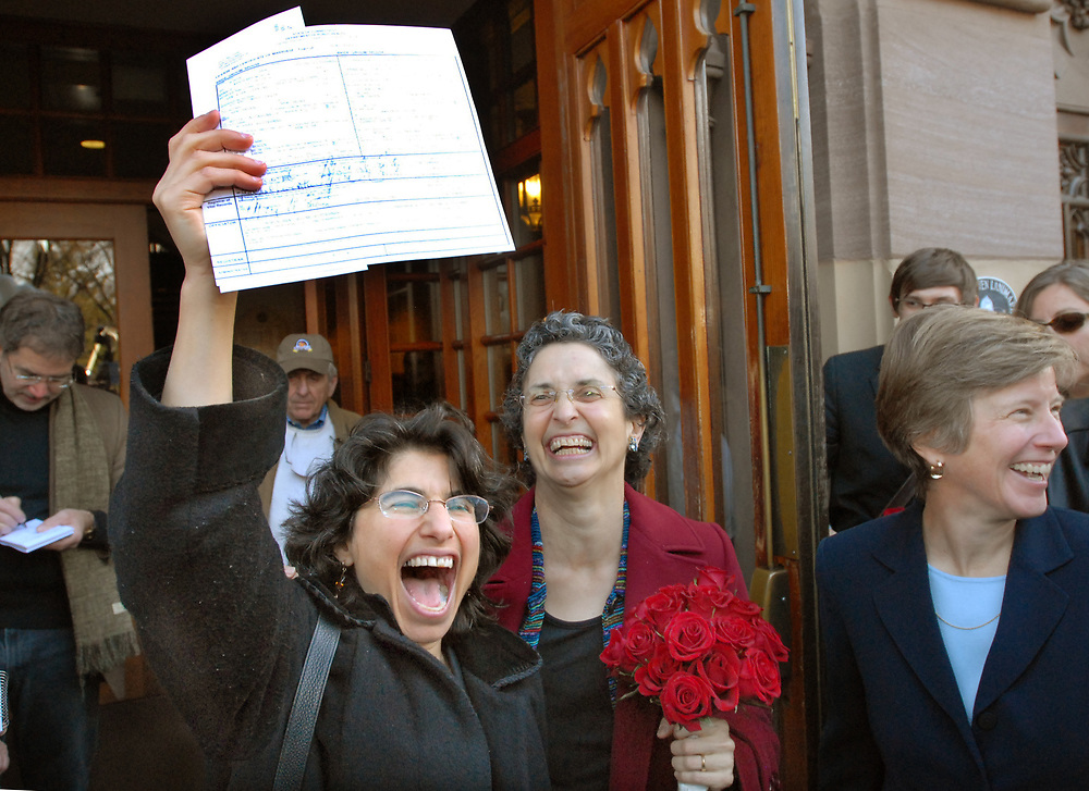 NE11/12/08 2Marriage<br /> ML0495A<br /> Robin Levine-Ritterman left and Barbara Levine-Ritterman center both of New Haven with their marriage license outside of New Haven City Hall. The two were the first of the plaintiffs to apply for a same-sex marriage in the state of Connecticut. Mary Bonauto, an attorney with Gay & Lesbian Advocates and Defenders is at right. Photo by Mara Lavitt