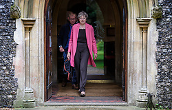 © Licensed to London News Pictures. 30/07/2017. Maidenhead, UK. British prime minister THERESA MAY and her husband PHILIP attend church in her constituency in Maidenhead, Berkshire, UK . Photo credit: Ben Cawthra/LNP