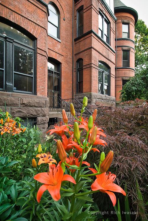 Flower garden in front yard of Embassy of Tajikistan, Washington Circle, Washington, DC