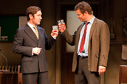 """© licensed to London News Pictures. London, UK  03/06/2011. Dominic West, star of the hit US drama """"The Wire"""", plays rapier-tongued lecturer Ben Butley in a major new revivial of Simon Gray's award-winning novel until 27 August 2011. Paul McGann as Reg Nuttall, left, and Dominic West as Ben Butley, right. Please see special instructions for usage rates. Photo credit should read Bettina Strenske/LNP"""