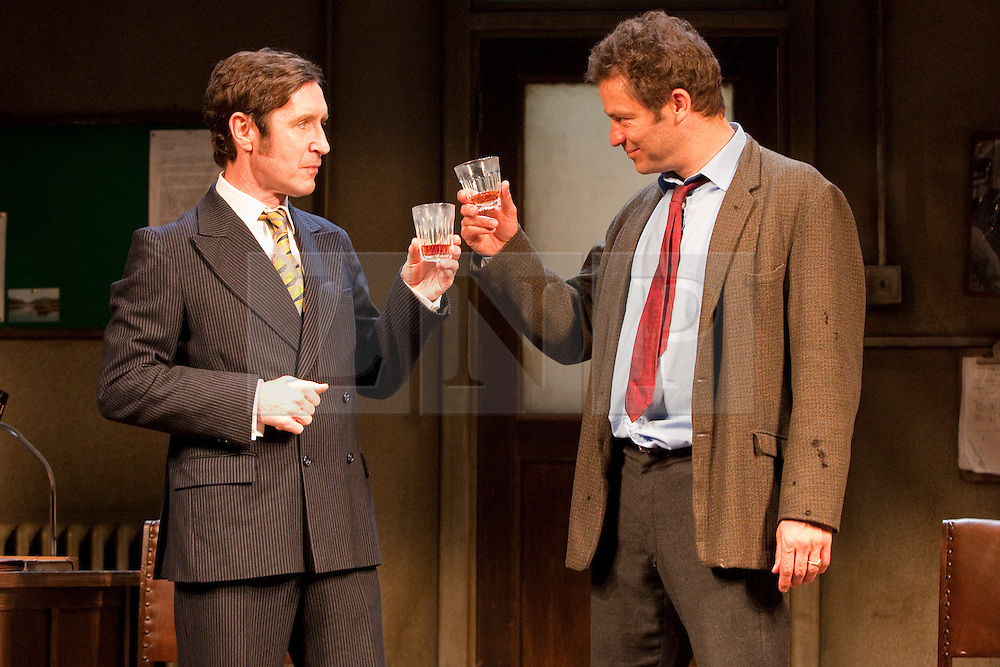 "© licensed to London News Pictures. London, UK  03/06/2011. Dominic West, star of the hit US drama ""The Wire"", plays rapier-tongued lecturer Ben Butley in a major new revivial of Simon Gray's award-winning novel until 27 August 2011. Paul McGann as Reg Nuttall, left, and Dominic West as Ben Butley, right. Please see special instructions for usage rates. Photo credit should read Bettina Strenske/LNP"
