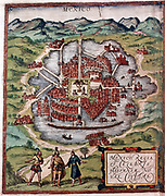 Mexico City in early 16th century. Depiction probably based on sketch in Cortes' (Cortez) book of 1524. British Museum.