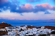 Sunrise over the Cyclades Island of Ios, Greece .<br /> <br /> Visit our GREEK HISTORIC PLACES PHOTO COLLECTIONS for more photos to download or buy as wall art prints https://funkystock.photoshelter.com/gallery-collection/Pictures-Images-of-Greece-Photos-of-Greek-Historic-Landmark-Sites/C0000w6e8OkknEb8