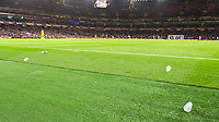 Football - 2018 / 2019 UEFA Europa League - Round of Sixteen, Second Leg: Arsenal (1) vs. Rennes (3)<br /> <br /> Cups are thrown by Rennes fans after Pierre-Emerick Aubameyang (Arsenal FC) scores at The Emirates.<br /> <br /> COLORSPORT/DANIEL BEARHAM