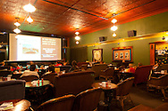 The inside of the movie theater, in between showings, at McMenamin's Olympic Club in downtown Centralia, Washington State.