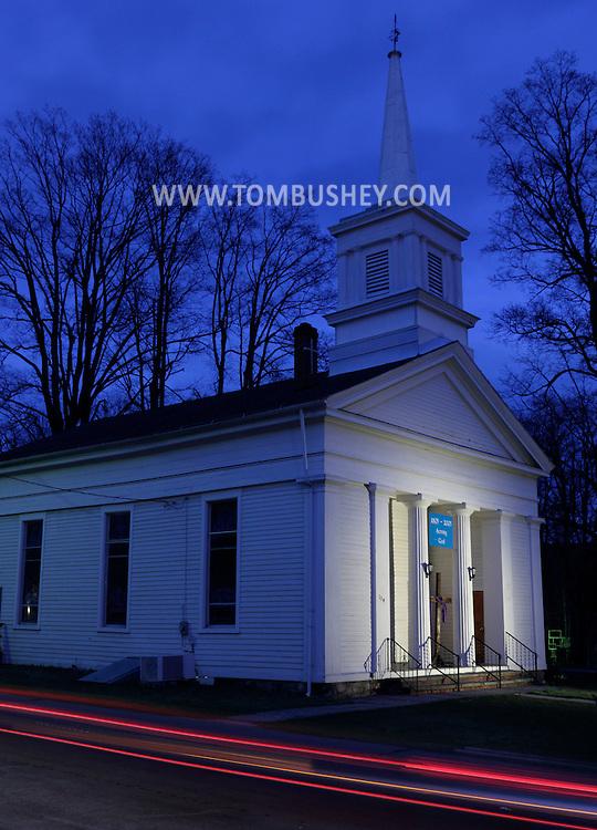 Wurtsboro, New York - The Community Church of Wurtsboro is illuminated at twilight on March 25, 2012.