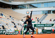Serena Williams of the United States in action aganist Cristie Ahn of the United States during the first round at the Roland Garros 2020, Grand Slam tennis tournament, on September 28, 2020 at Roland Garros stadium in Paris, France - Photo Rob Prange / Spain ProSportsImages / DPPI / ProSportsImages / DPPI
