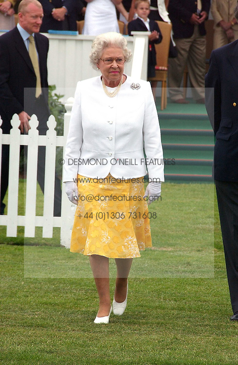 HM THE QUEEN ELIZABETH 11 at the Queen's Cup polo final sponsored by Cartier at Guards Polo Club, Smith's Lawn, Windsor Great Park on 18th June 2006.  The Final was between Dubai and the Broncos polo teams with Dubai winning.<br /><br />NON EXCLUSIVE - WORLD RIGHTS