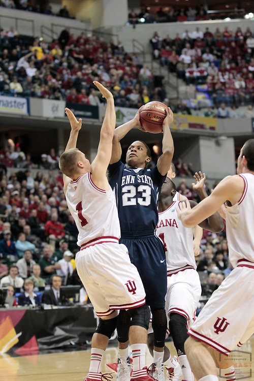 08 March 2012: Penn State Nittany Lions guard Tim Frazier (23) as the Indiana Hoosiers played the Penn State Nittany Lions in a college basketball game during the Big 10 Men's Basketball Championship in Indianapolis