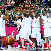 08 August 2012: Player of Team France celebrate on the bench during 66-59 Team Spain victory over Team France, during the men's basketball quarter-finals, at the 02 Arena, in London, Great Britain.