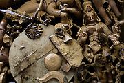 Disgarded wax moulds lie in a tank of water in the  workshops of the Stpathy family of bronze statue makers in Swamimalai, India.The current Stpathy family is the twenty third generation of bronze casters dating back to the founding of the Chola Empire. The Stapathys had been sculptors of stone idols at the time of Rajaraja 1 (AD985-1014) but were called to Tanjore to learn bronze casting. Their methods using the ,ƒÚlost wax,ƒÙ process remains unchanged to this day..