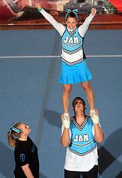Christina Jakobsen & Michael Pasieczny, Denmark during Partner stunt at second day of European Cheerleading Championship 2008, on July 6, 2008, in Arena Tivoli, Ljubljana, Slovenia. (Photo by Vid Ponikvar / Sportal Images).