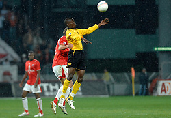 09-05-2007 VOETBAL: PLAY OFF: UTRECHT - RODA: UTRECHT<br /> In de play-off-confrontatie tussen FC Utrecht en Roda JC om een plek in de UEFA Cup is nog niets beslist. De eerste wedstrijd tussen beide in Utrecht eindigde in 0-0 / Sekou Cisse en Tim Cornelisse<br /> ©2007-WWW.FOTOHOOGENDOORN.NL