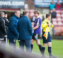 Ayr United's Jamie Adams off injured. <br /> Dunfermline 3 v 2 Ayr United, Scottish League One played at East End Park, 13/2/2016.