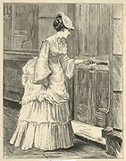 'Woman posting a letter in a leterbox. Engraving, London, 1873.'