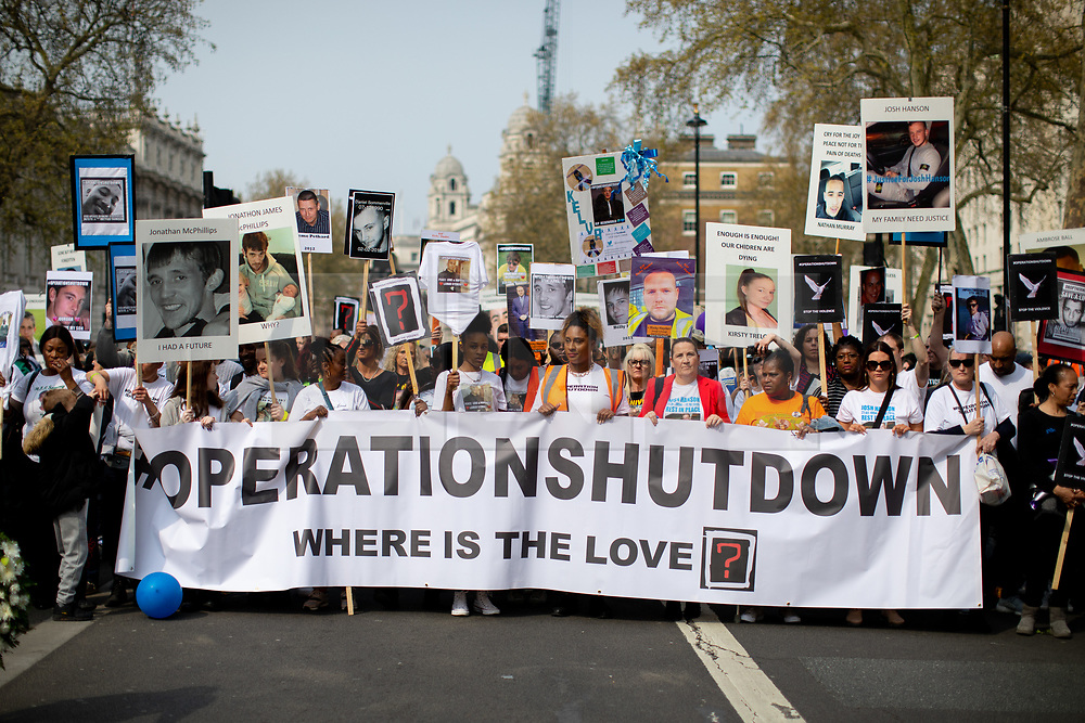 © Licensed to London News Pictures. 17/04/2019. London, UK. An anti-knife crime march demonstration named 'Operation Shutdown' sets off from outside Downing Street to Westminster Bridge, following a rise in knife crime and violence in the capital. Participants include family members of those lost to knife crime. Photo credit : Tom Nicholson/LNP