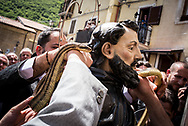 At the end of the preocession the snakes are taken of the statue of Saint Domenico. Cocullo, Italy. May 1st 2017. Federico Scoppa