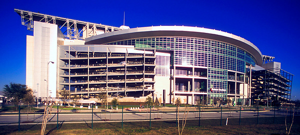 Stock photo of the exterior curvature of Reliant Stadium