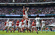 England's Joe Launchbury collects a line out ahead of Wales' Ross Moriarty during the The Old Mutual Wealth Cup match England -V- Wales at Twickenham Stadium, London, Greater London, England on Sunday, May 29, 2016. (Steve Flynn/Image of Sport)